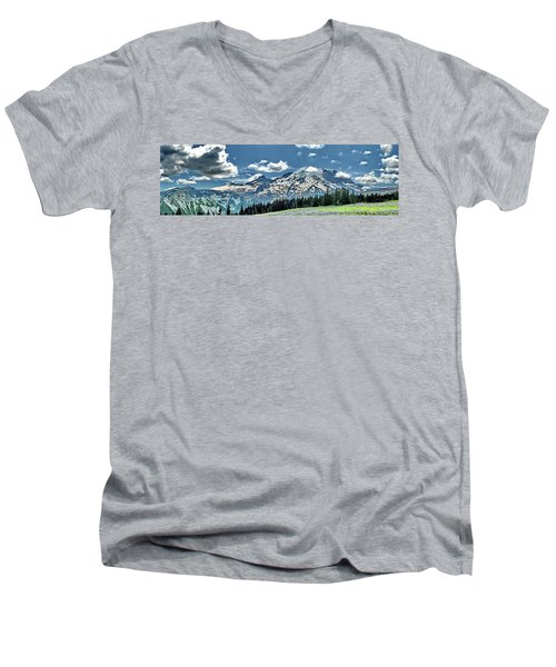 The Cascade Mountains And Mt. Rainier Men's V-Neck T-Shirt