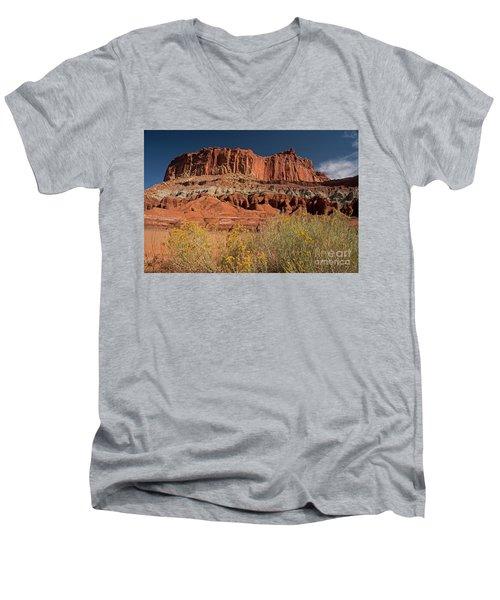 The Castle In Capital Reef Men's V-Neck T-Shirt