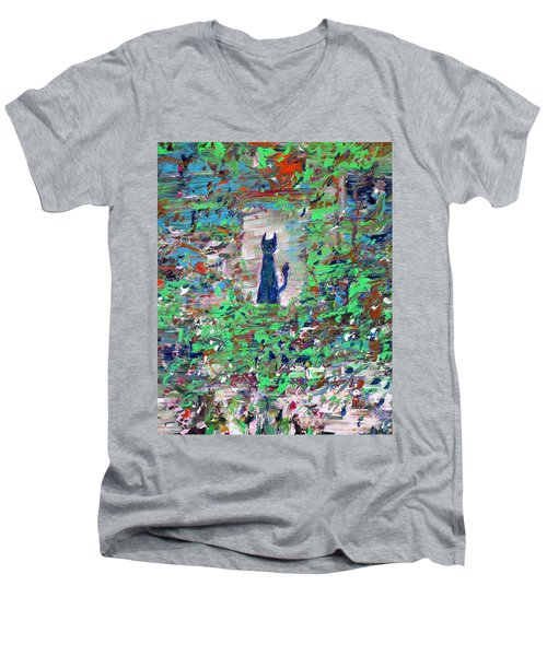 Men's V-Neck T-Shirt featuring the painting The Cat In The Garden by Fabrizio Cassetta