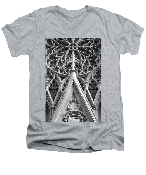 Men's V-Neck T-Shirt featuring the photograph The Cathedral Of St. Patrick Close Up by Michael Dorn