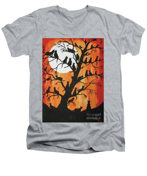 The Cats On Night Watch Men's V-Neck T-Shirt by Jeffrey Koss