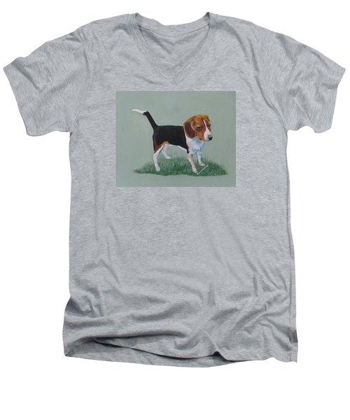 The Cautious Beagle Men's V-Neck T-Shirt