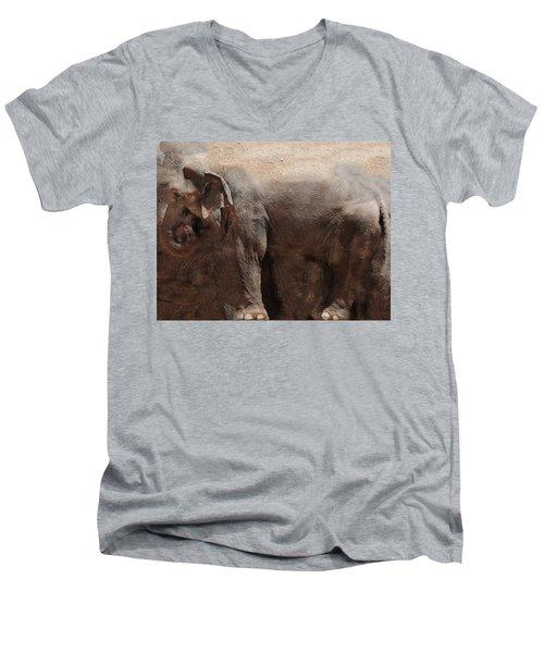 Men's V-Neck T-Shirt featuring the digital art The Cave by Robert Orinski