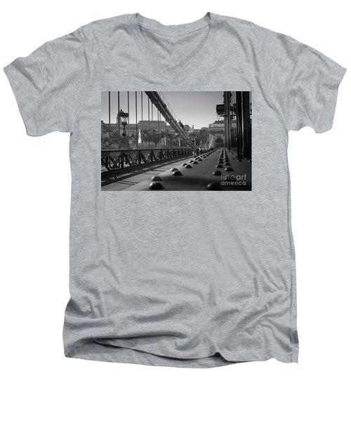The Chain Bridge, Danube Budapest Men's V-Neck T-Shirt