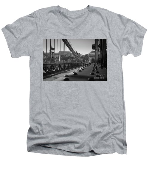 The Chain Bridge, Danube Budapest Men's V-Neck T-Shirt