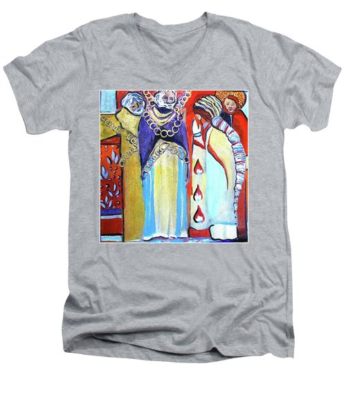 Men's V-Neck T-Shirt featuring the painting The Chains That Bind Us To Christ by Mindy Newman