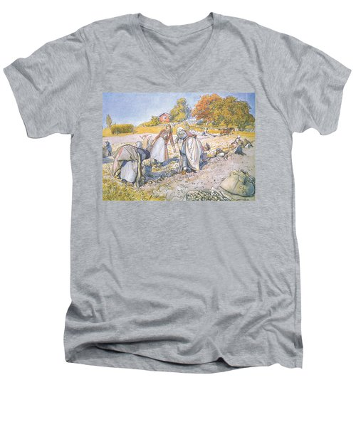 The Children Filled The Buckets And Baskets With Potatoes Men's V-Neck T-Shirt by Carl Larsson