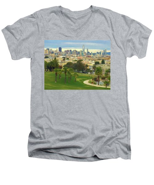 The City From Dolores Park Men's V-Neck T-Shirt
