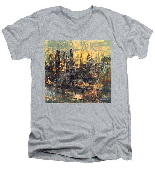 The City Men's V-Neck T-Shirt by Nancy Kane Chapman