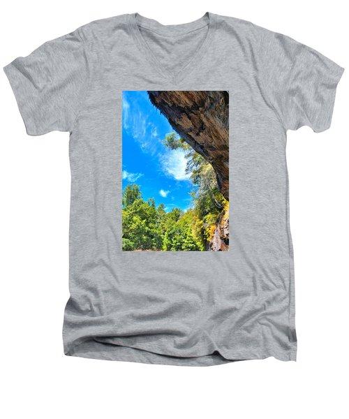 The Cliffs At Bridal Veil Falls Men's V-Neck T-Shirt by James Potts