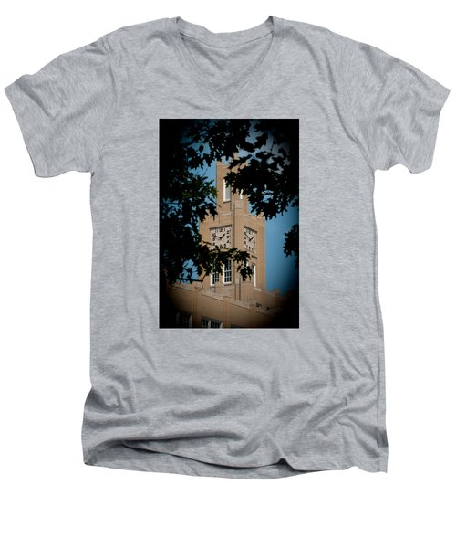 Men's V-Neck T-Shirt featuring the photograph The Clock Tower by Mark Dodd