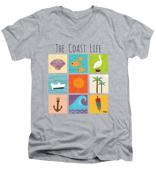 The Coast Life Men's V-Neck T-Shirt by Kevin Putman
