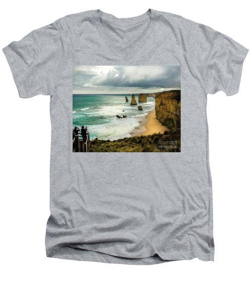 Men's V-Neck T-Shirt featuring the photograph The Coast by Perry Webster