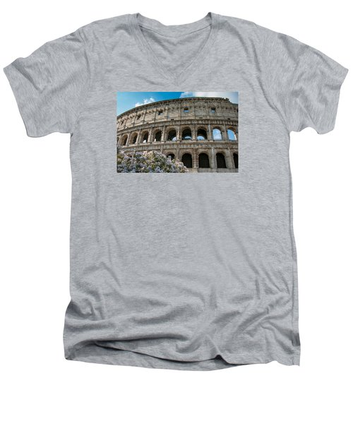 Men's V-Neck T-Shirt featuring the photograph The Coliseum In Rome by Kathleen Scanlan