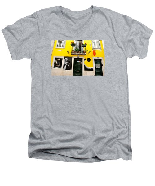 Men's V-Neck T-Shirt featuring the photograph The Colorful Bar by Marwan Khoury