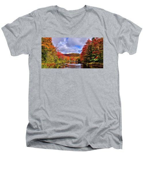 Men's V-Neck T-Shirt featuring the photograph The Colors Of Fall On The Moose River by David Patterson