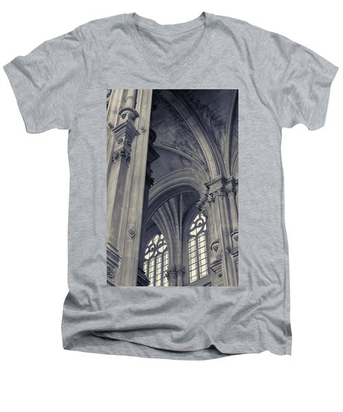 The Columns Of Saint-eustache, Paris, France. Men's V-Neck T-Shirt