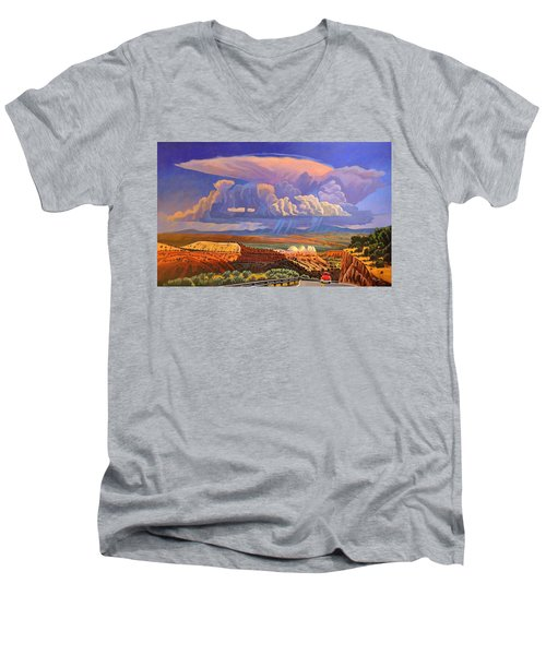 Men's V-Neck T-Shirt featuring the painting The Commute by Art West