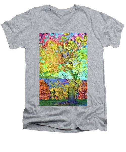 Men's V-Neck T-Shirt featuring the digital art The Contagious Laughter Of Trees by Tara Turner