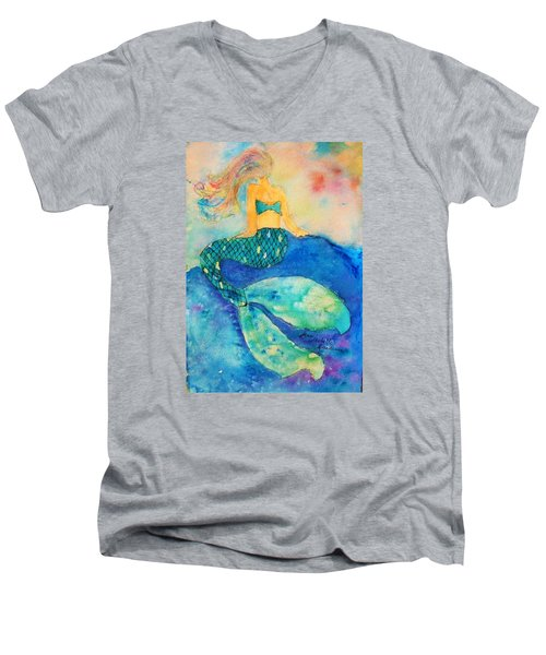The Contemplation Of A Mermaid Men's V-Neck T-Shirt by Ann Michelle Swadener