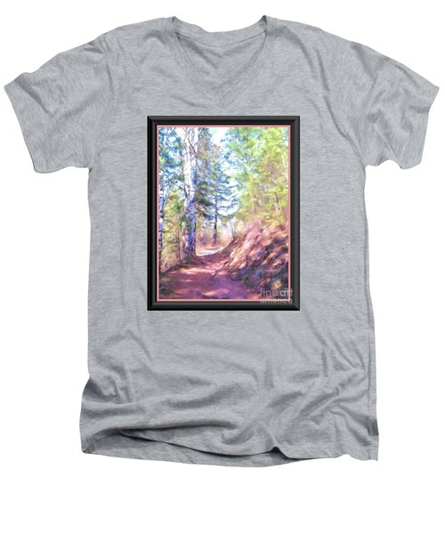 Men's V-Neck T-Shirt featuring the photograph The Copper Path by Shirley Moravec