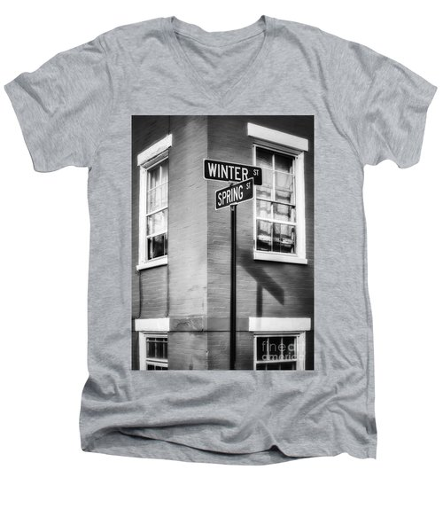 The Corner Of Winter And Spring Bw Men's V-Neck T-Shirt
