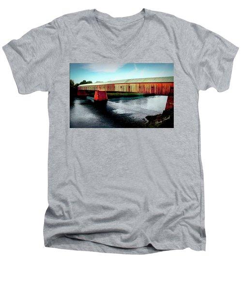 The Cornish-windsor Covered Bridge  Men's V-Neck T-Shirt