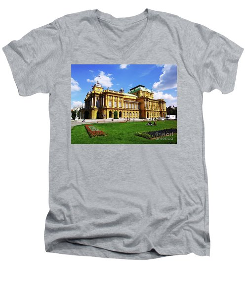 The Croatian National Theater In Zagreb, Croatia Men's V-Neck T-Shirt by Jasna Dragun