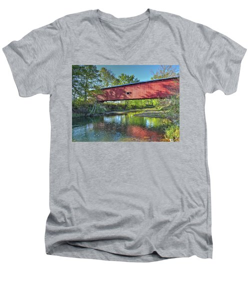 Men's V-Neck T-Shirt featuring the photograph The Crooks Covered Bridge - Sideview by Harold Rau
