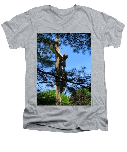 The Cross In The Woods Men's V-Neck T-Shirt by Keith Stokes