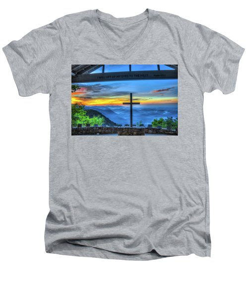 The Cross Sunrise At Pretty Place Chapel Men's V-Neck T-Shirt by Reid Callaway