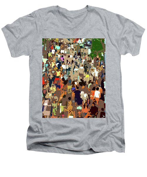 Men's V-Neck T-Shirt featuring the painting The Crowd by David Lee Thompson