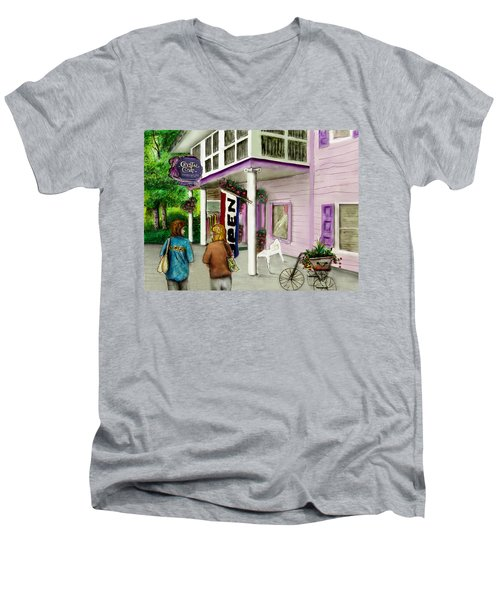 Men's V-Neck T-Shirt featuring the drawing The Crystal Cove At Lilydale Ny by Albert Puskaric