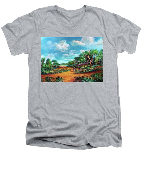 Men's V-Neck T-Shirt featuring the painting The Cycle Of Life by Randol Burns