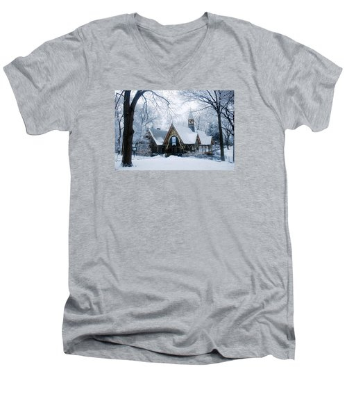 The Dairy In Winter Men's V-Neck T-Shirt by James Kirkikis