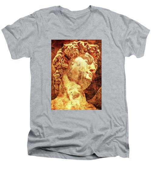 The David By Michelangelo Men's V-Neck T-Shirt by J- J- Espinoza