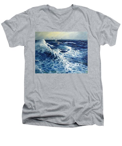 The Deep Blue Sea Men's V-Neck T-Shirt by Eileen Patten Oliver