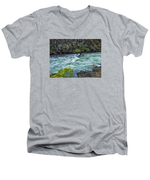 The Deschutes River At Dillon Falls Men's V-Neck T-Shirt by Nancy Marie Ricketts