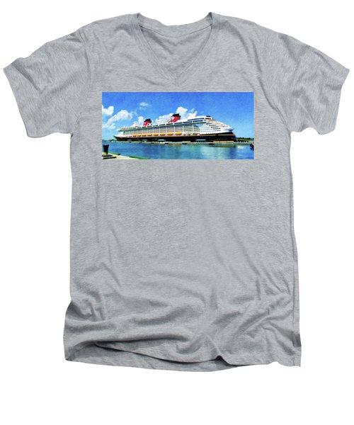The Disney Dream In Nassau Men's V-Neck T-Shirt by Sandy MacGowan