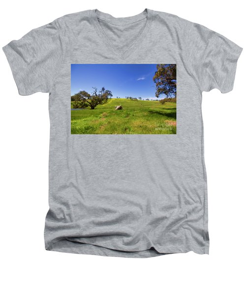 Men's V-Neck T-Shirt featuring the photograph The Distant Hill by Douglas Barnard