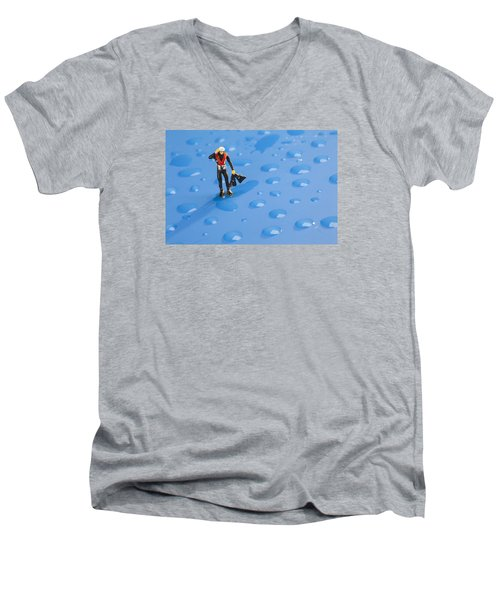 Men's V-Neck T-Shirt featuring the photograph The Diver Among Water Drops Little People Big World by Paul Ge