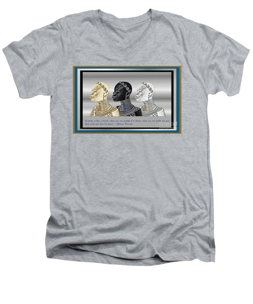 Men's V-Neck T-Shirt featuring the digital art The Divine Sisters by Jacqueline Lloyd