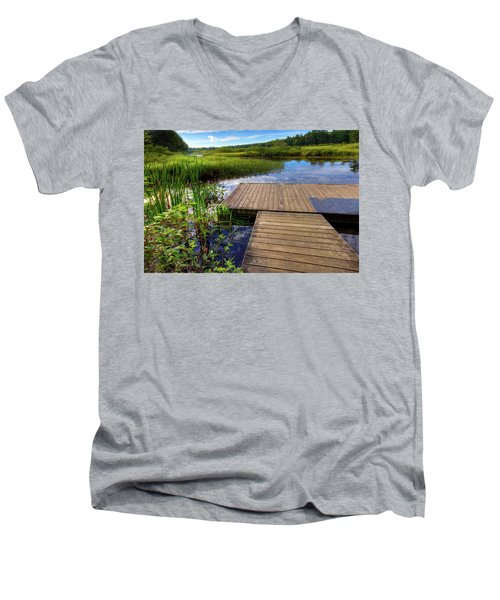 The Dock At Mountainman Men's V-Neck T-Shirt by David Patterson