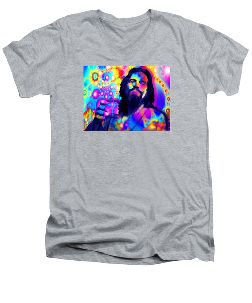 The Dude The Big Lebowski Jeff Bridges Men's V-Neck T-Shirt by Tony Rubino