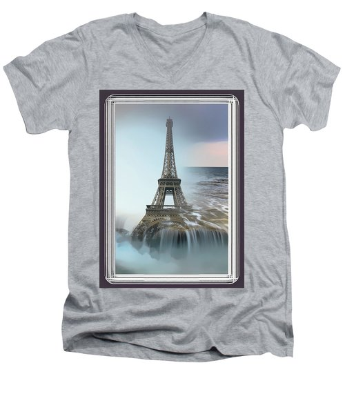 The Eiffel Tower In Montage Men's V-Neck T-Shirt