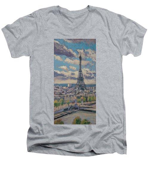 The Eiffel Tower Paris Men's V-Neck T-Shirt by Nop Briex