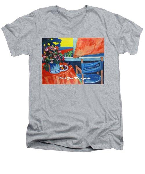 The Empty Blue Canvas Chair Men's V-Neck T-Shirt