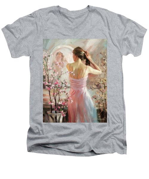 Men's V-Neck T-Shirt featuring the painting The Evening Ahead by Steve Henderson