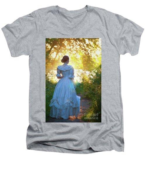 The Evening Walk Men's V-Neck T-Shirt by Lee Avison
