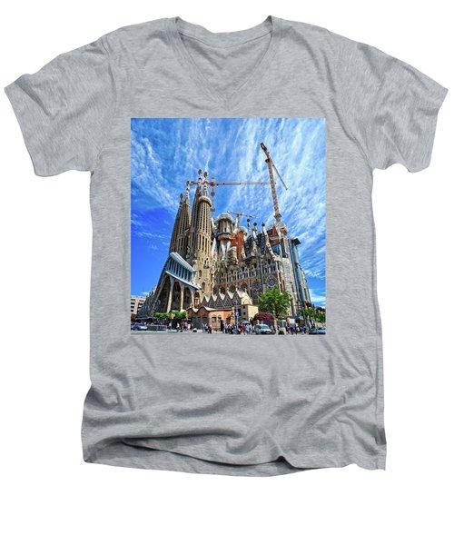 The Expiatory Temple Of The Holy Family Men's V-Neck T-Shirt